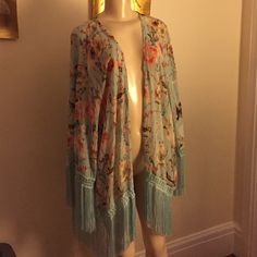 Vintage Havana Kimono Vintage Havana Kimono. Baby blue with birds and floral print. Size medium. NEVER worn! . Bought this as a cover up but never used. New with tags. Size medium. Amazing fringe I sleeves and waist! I love this but somehow never used Vintage Havana Tops