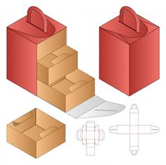 Caja de transporte con plantilla divisoria troquelada | Vector Premium
