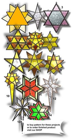 stain glass christmas patterns | stained glass Star 64 - pattern has 21 stained glass pieces ...