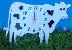 Handmade laser cut acrylic  'Collin The Cow' clock