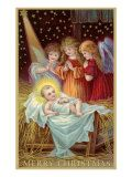 Merry Christmas, Angels Admiring Baby Jesus. Merry Christmas, Angels Admiring Baby Jesus Giclee Print by. Product size approximately 18 x 24 inches. Available at Art.com. Embrace your Space - your source for high quality fine art posters and prints.. Price: $49.99