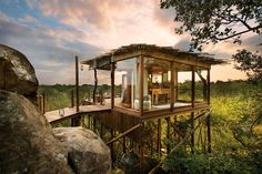 Lion Sands River Lodge Sabi Sand Game Reserve, South Africa Hotels tree building house home hut cottage Jungle Flying Spaces, Beautiful Hotels, Beautiful Places, Amazing Hotels, Wonderful Places, Amazing Places, Resorts, Luxury Tree Houses, Sand Game
