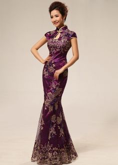 elegant chinese dresses | Meimaid Floor-Length Cheongsam Elegant Chinese Mandarin Gown for Party ...