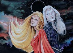 """hgarrityart: """" Arien and Tilion of Tolkien's legendarium. """""""