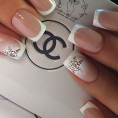 Accurate nails Christmas nails Ideas of gentle nails Light french nails Medium nails New year nails ideas 2017 ring finger nails Snowflake nail art French Tip Nail Designs, Best Nail Art Designs, Acrylic Nail Designs, Xmas Nails, Holiday Nails, Christmas Nails, Snow Nails, French Christmas, Christmas Snowflakes