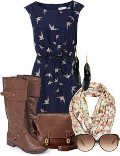 """""""bird dress"""" by boomerwashere ❤ liked on Polyvore"""