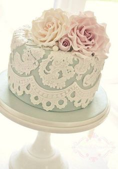 beautiful lace embellished duck egg cake, with sugar icing flowers, simple & elegant