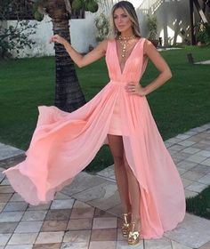 Prom Dress For Teens, A-Line Deep V-Neck Sweep Train Split-Front Coral Chiffon Prom Dress, cheap prom dresses, beautiful dresses for prom. Best prom gowns online to make you the spotlight for special occasions. V Neck Prom Dresses, Cheap Prom Dresses, Sexy Dresses, Bridesmaid Dresses, Formal Dresses, Wedding Dresses, Formal Prom, Ball Dresses, Ball Gowns