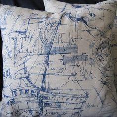 Nautical Sketches Decorative Pillow Yachts, Boats, Handmade. $65.00, via Etsy.