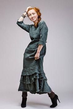 Boho style pure linen dress by KayrosLinen on Etsy https://www.etsy.com/listing/528132541/boho-style-pure-linen-dress