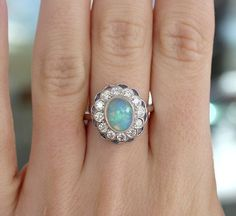Stunning Opal Diamond and Sapphire Ring 14k White Gold design