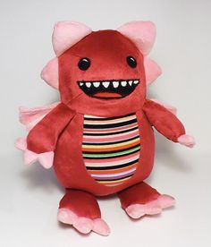 Red Stripes Georgie Monster  soft toy monster by FluffEngine, $48.00