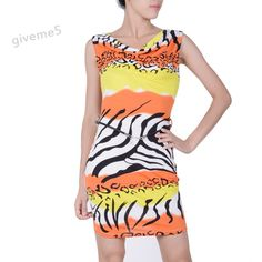 2014 Free Shipping Newest Fashion Red/ Blue/Yellow Printed V-Neck Bodycon Dress Prom Ball Party Clubwear Dresses b11
