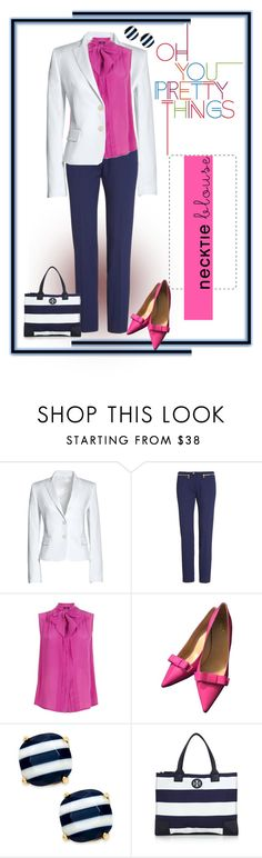 """""""Pretty Things - Necktie Blouse contest"""" by curvygirlamy ❤ liked on Polyvore featuring Canvas by Lands' End, Versace, Weekend Max Mara, Kate Spade and Tory Burch"""