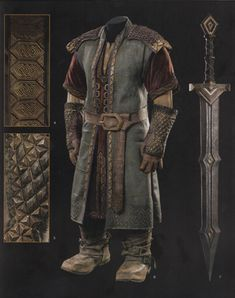 "mistergandalf: "" Fíli's stripped-down armor and sword From The Hobbit: The Battle of the Five Armies Chronicles: The Art of War "" Fantasy Dwarf, Fantasy Armor, Medieval Fantasy, Hobbit Dwarves, O Hobbit, Tolkien, Hobbit Cosplay, Larp, Dwarven Armor"