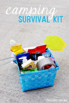 Camping Survival Kit -- not a bad list of miscellany to keep on hand for the family.