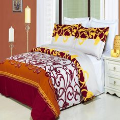 Luxury Full/Queen Printed Red Mission Duvet Cover Set, 300 Thread Count 100 % Cotton fiber reactive prints with matching pillow shams King Size Comforter Sets, King Size Comforters, King Duvet Cover Sets, Duvet Sets, Comforter Cover, Bed Sets, Pottery Barn, Egyptian Cotton Duvet Cover, Ikea