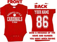 wrbb daddys mommy cardinals baby jersey by SweetRosyCheeks on Etsy, $25.00