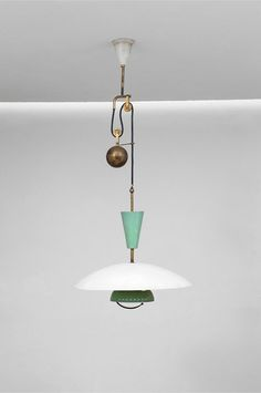 Anonymous; Enameled Metal and Brass Ceiling Light by Lumi, 1950s.