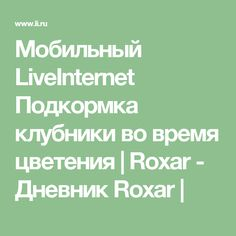 Мобильный LiveInternet Подкормка клубники во время цветения | Roxar - Дневник  Roxar |