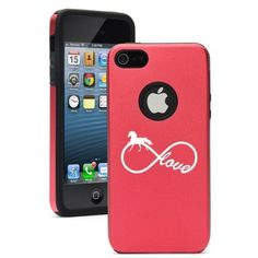 Apple iPhone 5 5S Rose Red 5D5164 Aluminum & Silicone Case Cover Infinite Infinity Love For Horses:Amazon