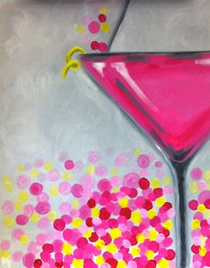 Pink Flirtini | Canvas Painting | Painting Classes | | Paint and Wine Classes
