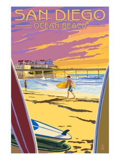 San Diego, California - Ocean Beach - Lantern Press ArtworkQuality Poster Prints Printed in the USA on heavy stock paper Crisp vibrant color image that is resistant to fading Standard size print, ready for framing Perfect for your home, office, or a gift San Clemente California, California Dreamin', Ocean Beach California, Vintage California, Vintage Florida, San Diego, Road Trip Usa, Balboa Park, Voyage Usa