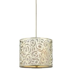 #Lola#Pendant #Light - brushed nickel pendant with a laser-cut metal design and silk drum shade. Sleek and sophisticated!