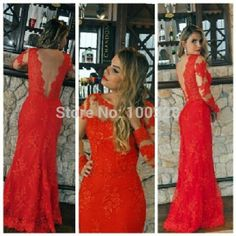 Find More Prom Dresses Information about Vestido De Festa Floor Length Full Sleeve Scoop Neckline Appliques Backless Red Mermaid Prom Dresses 2015 New Free Shipping,High Quality prom corsage,China prom dress short Suppliers, Cheap prom long from Rose Wedding Dress Co., Ltd on Aliexpress.com