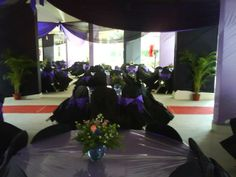 prior to coming of guests, chairs are tilted. Each wedding has a different colour theme