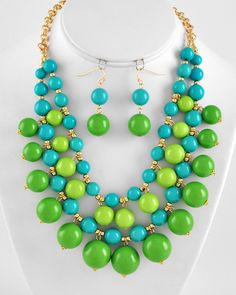 Gold Tone / Lime Green / Aqua Blue Acrylic / Lead/nickel Compliant / Charm Necklace / Fish Hook Earring Set