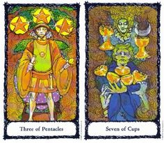 1-24-13 Thursday's Tarot: 3 OF PENTACLES + 7 OF CUPS (Sacred Rose Tarot) – Pay attention to details today, because those details could help you make a tough decision. You may be choosing from a variety of possible options, but not all of those options are right for you.