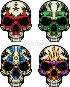 Luchador Skull Masks Royalty Free Stock Vector Art Illustration