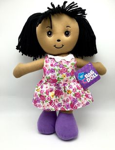 Rag Doll Childs Toy 15 inch ages 3+ Black Hair Flower Dress New
