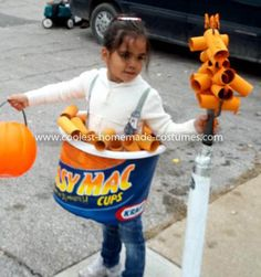 Coolest Macaroni and Cheese Costume: My little sister came to me with an idea for her next Halloween costume - she wanted to be her favorite food, Macaroni and cheese. As the big sister, I