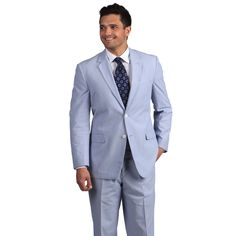 Make a bold statement in this light blue suit from Adolfo featuring subtle white pinstriping. This sleeks suit has a classic notch collar, several handy pockets, and a traditional two-button jacket closure.