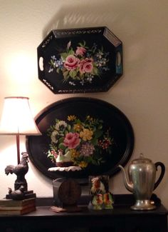 Tole trays… got these babies hung in the butler's pantry… nice.