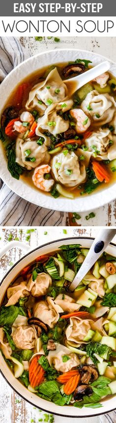 This easy (Step by Step) Wonton Soup is better than your favorite restaurantwith most flavorful, juicy, wontons you have to taste to believe! I've included step by step photos, easy to follow instructions, and how to freeze wontons for an easy meal any night of the week! #wontons #wontonsoup #soup via Chili Recipes, Asian Recipes, Soup Recipes, Dinner Recipes, Cooking Recipes, Ethnic Recipes, Petits Plats, Soups And Stews, Night