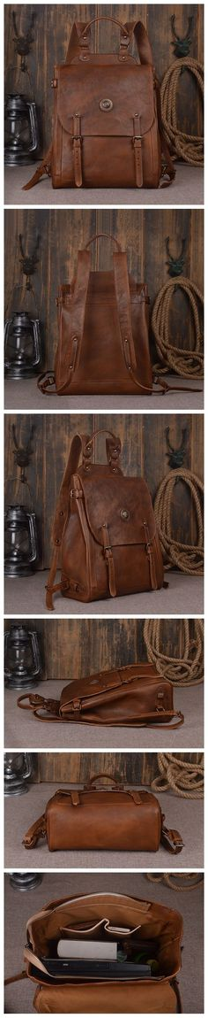 """Model Number: 9081 Dimensions: 15.3""""L x 5.5""""W x 13""""H / 39cm(L) x 14cm(W) x 33cm(H) Weight: 3.5 lb / 1.6kg Hardware: Brass Hardware Color: Dark Brown / Retro Brown Features: • Genuine Natural Leather •"""