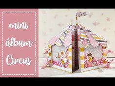 Tutorial scrapbooking: mini album Circus - YouTube Mini Album Scrapbook, Scrapbook Bebe, Mini Albums Scrap, Hobbies And Crafts, Diy And Crafts, Paper Crafts, Baby Mini Album, Homemade Books, Mini Album Tutorial