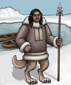 Adlet or Erqigdlit- Inuit myth: humanoid creatures with their body being of humans, but their legs of wolves. They were taller than humans, but when they got into conflicts with humans (which was often) humans usually always won them.