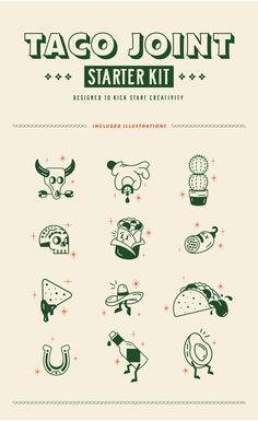 Introducing the Taco Joint Starter Kit! Are you a designer that recently landed a Mexican restaurant client? Are you a restaurant owner yourself? Resturant Branding, Bar Restaurant Design, Restaurant Icon, Restaurant Identity, Restaurant Marketing, Design Café, Menu Design, Icon Design, Branding Design