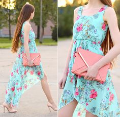 Persunmall Mint Floral Dress, Sammydress Pink Clutch Bag, Persunmall Nude Pointed Toe Heels