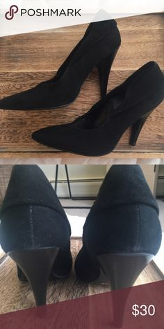 BCBGirls Black Suede Pumps Size 6 BCBG Suede Pumps. Leather upper and man-made sole and lining. Made in Brazil. Back has a fold. Happy to provide additional info/pics. Will accept reasonable offers. BCBG Shoes Heels