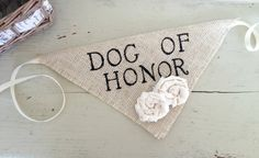 Ivory Dog of Honor Girl Collar with Flowers Bandana Rustic Burlap Wedding Photo Prop on Etsy, $15.00