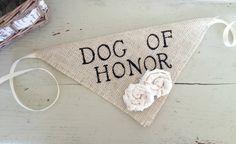 Ivory Dog of Honor Collar with Flowers Bandana Rustic Burlap Wedding Photo Prop on Etsy, $15.00