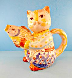 Cat Teapot Ceramic, Kitty & Fish, Colorful Kitty, Full Size Tea Pot, Cat Figurine Pitcher, Cat Lover Gift, Vintage Feline, World Bazaar by TheOldCatHouse on Etsy https://www.etsy.com/listing/214325105/cat-teapot-ceramic-kitty-fish-colorful