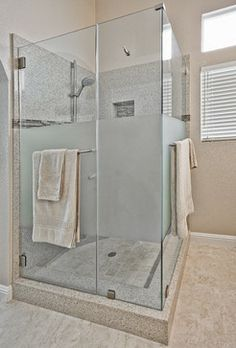 Frosted Shower Doors Design Ideas, Pictures, Remodel and Decor Corner Shower Doors, Bathroom Shower Doors, Master Bathroom Shower, Window In Shower, Guest Bathrooms, Frosted Shower Doors, Glass Shower Doors, French Bathroom Decor, Glass Cabin