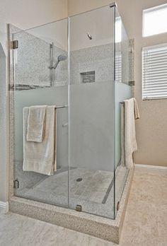 Frosted Shower Doors Design Ideas, Pictures, Remodel and Decor Corner Shower Doors, Bathroom Shower Doors, Master Bathroom Shower, Window In Shower, Guest Bathrooms, Frosted Shower Doors, Glass Shower Doors, French Bathroom Decor, Glass Cabin