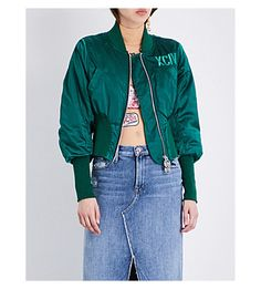 GCDS Glitter Logo Satin Bomber Jacket. #gcds #cloth #coats & jackets